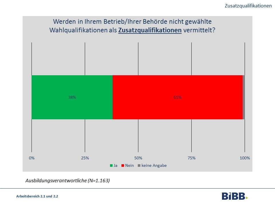 """Die Frage, ob ihr Betrieb nicht gewählte Wahlqualifikationen als Zusatzqualifikationen vermittelt, beantworterten 38% der Befragren mit """"Ja"""", 61% mit """"Nein"""" und 1% machte keine Angabe."""